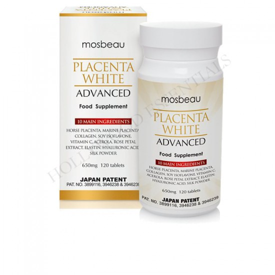 Placenta White Advanced Skin Whitening Supplement Pills 650mg/120 Tablets