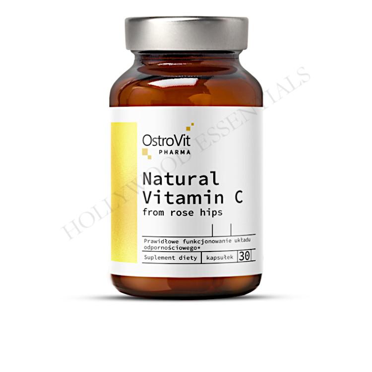 OstroVit Natural Vitamin C from Rose Hips Skin Whitening Supplement Pills - 30 Capsules